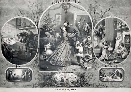 "A Thomas Nast print for the Christmas 1863 ""Harper's Weekly,"" published on December 26, 1863"