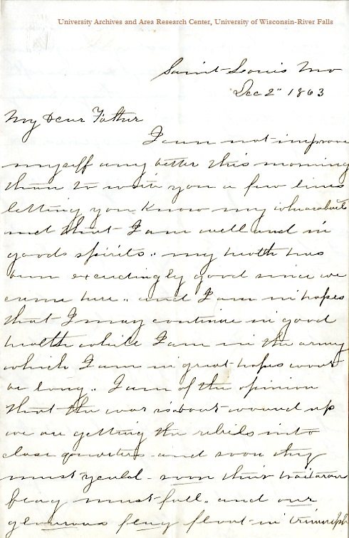 Wyman X. Folsom letter of December 2, 1863, from the W. H. C. Folsom Papers (River Falls Mss S) in the University Archives & Area Research Center at the University of Wisconsin-River Falls