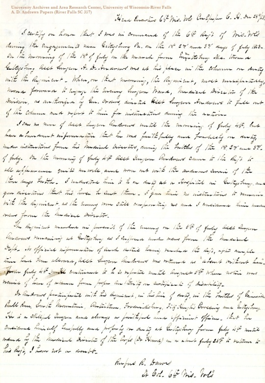 Affidavit from R.R. Dawes, December 28, 1863, from the A.D. Andrews Papers (River Falls SC 357) in the University Archives & Area Research Center at the University of Wisconsin-River Falls