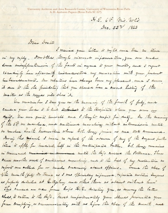 Letter from R.R. Dawes, December 22, 1863, from the A.D. Andrews Papers (River Falls SC 357) in the University Archives & Area Research Center at the University of Wisconsin-River Falls