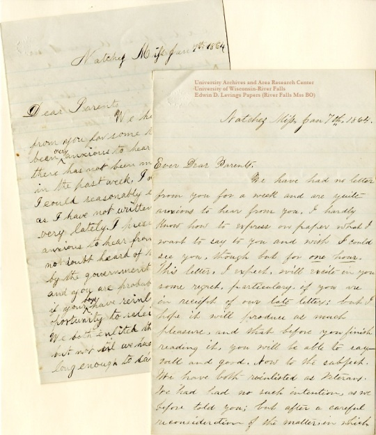 Homer Levings letter (left) of January 7, 1864, from the Edwin D. Levings Papers (River Falls Mss BO) in the University Archives & Area Research Center at the University of Wisconsin-River Falls
