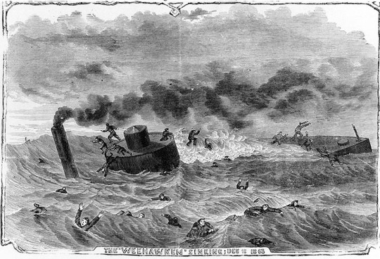 """""""Sinking of the Monitor """"Weehawken"""" at the Siege of Charleston, December 7th [sic], 1863; from a sketch by W. T. Crane"""
