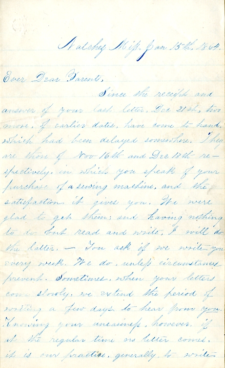 Edwin Levings letter of January 15, 1864, from the Edwin D. Levings Papers (River Falls Mss BO) in the University Archives & Area Research Center at the University of Wisconsin-River Falls
