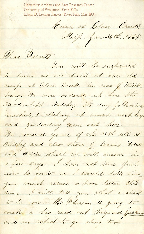 Edwin Levings letter of January 26, 1864, from the Edwin D. Levings Papers (River Falls Mss BO) in the University Archives & Area Research Center at the University of Wisconsin-River Falls
