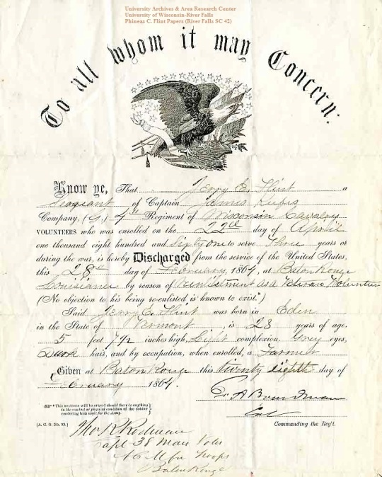 Jerry Flint's 1864 discharge, from the Phineas C. Flint Papers (River Falls SC 24) at the University of Wisconsin-River Falls University Archives & Area Research Center
