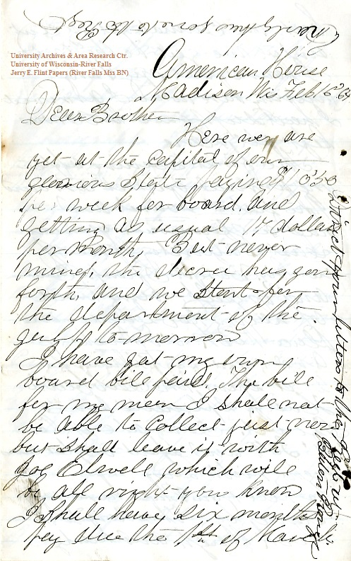 Jerry Flint letter of February 16, 1864, from the Jerry E. Flint Paper (River Falls Mss BN) at the University of Wisconsin-River Falls University Archives & Area Research Center
