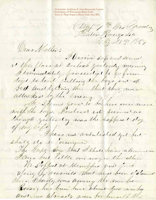 Jerry Flint letter of February 28, 1864, from the Jerry E. Flint Papers (River Falls Mss BN) at the University of Wisconsin-River Falls University Archives & Area Research Center