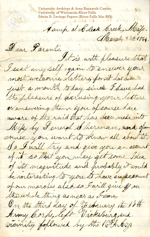 Homer Levings letter of March 3, 1864, from the Edwin D. Levings Papers (River Falls Mss BO) in the University Archives & Area Research Center at the University of Wisconsin-River Falls