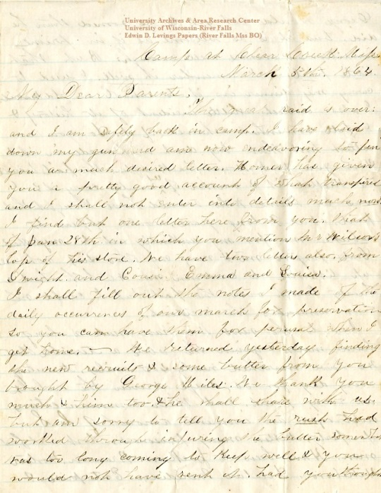 Edwin Levings letter of March 5, 1864, from the Edwin D. Levings Papers (River Falls Mss BO) in the University Archives & Area Research Center at the University of Wisconsin-River Falls