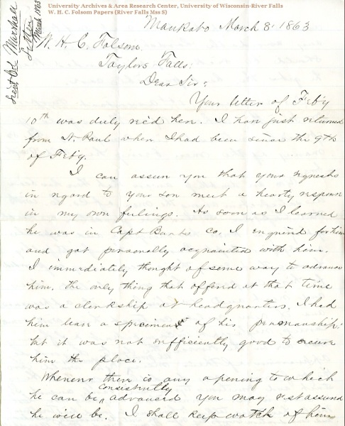 William R. Marshall letter of March 8, 1863, from the W. H. C. Folsom Papers (River Falls Mss S) in the University Archives & Area Research Center at the University of Wisconsin-River Falls