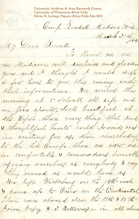 Edwin Levings letter of March 21, 1864, from the Edwin D. Levings Papers (River Falls Mss BO) in the University Archives & Area Research Center at the University of Wisconsin-River Falls
