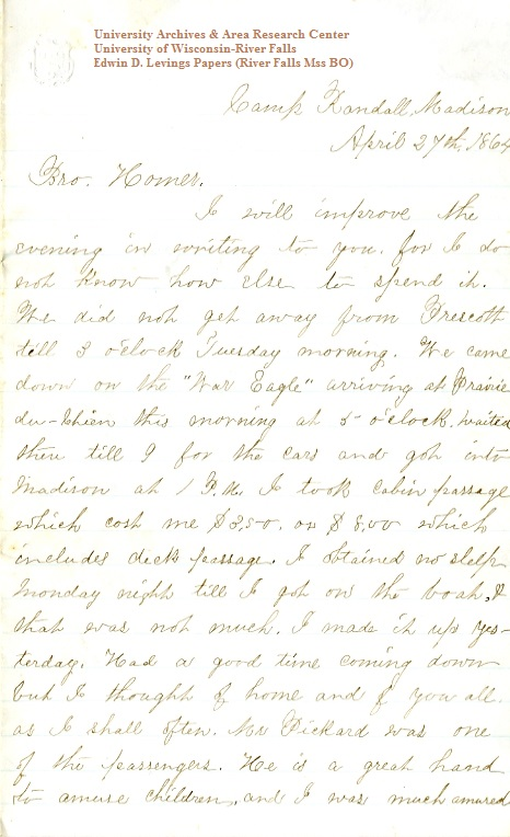 Edwin Levings letter of April 27, 1864, from the Edwin D. Levings Papers (River Falls Mss BO) in the University Archives & Area Research Center at the University of Wisconsin-River Falls