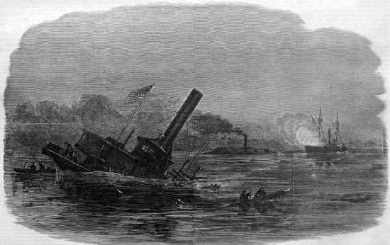 "The Rebel Ram Attacking Federal Gun-Boats at Plymouth, North Carolina, from ""Harper's Weekly"""