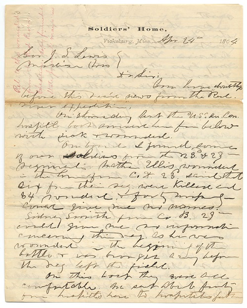 Cordelia Harvey letter of April 24, 1864, from the Letters and Papers of Mrs. Cordelia Harvey, 1862-1864 (Series 63) in the Wisconsin State Archives, Wisconsin Historical Society, Madison, Wisconsin