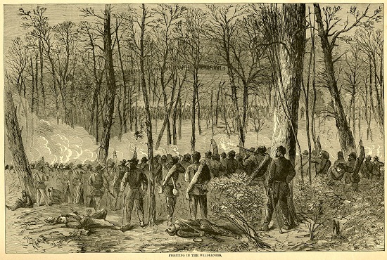 """Fighting in the Wilderness, from """"Harper's Pictorial History of the Civil War"""" ¹"""