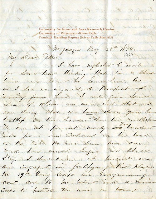 Frank Harding letter of May 28, 1864, from the Frank D. Harding Papers (River Falls Mss AB) in the University Archives & Area Research Center at the University of Wisconsin-River Falls
