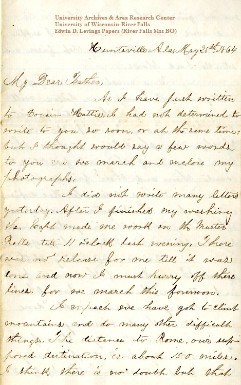 Edwin Levings letter of May 25, 1864, from the Edwin D. Levings Papers (River Falls Mss BO) in the University Archives & Area Research Center at the University of Wisconsin-River Falls