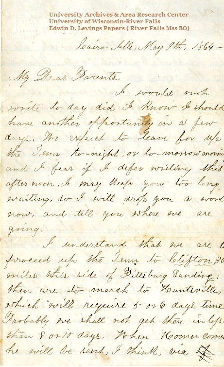 Edwin Levings letter of May 9, 1864, from the Edwin D. Levings Papers (River Falls Mss BO) in the University Archives & Area Research Center at the University of Wisconsin-River Falls