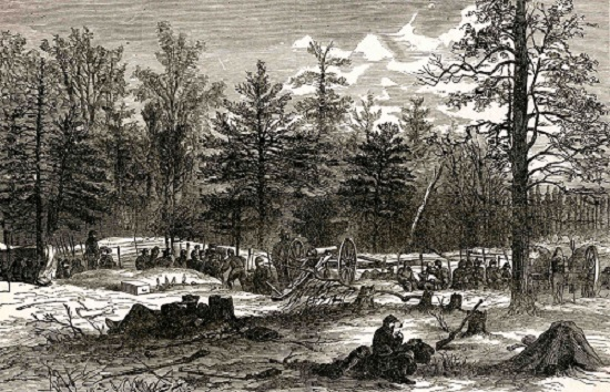 "The Wilderness--Scene of Wadsworth's Death, from ""Harper's Pictorial History of the Civil War"
