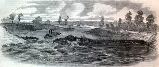 "Bailey's Dam, from ""Harper's Weekly"" of June 18, 1864"