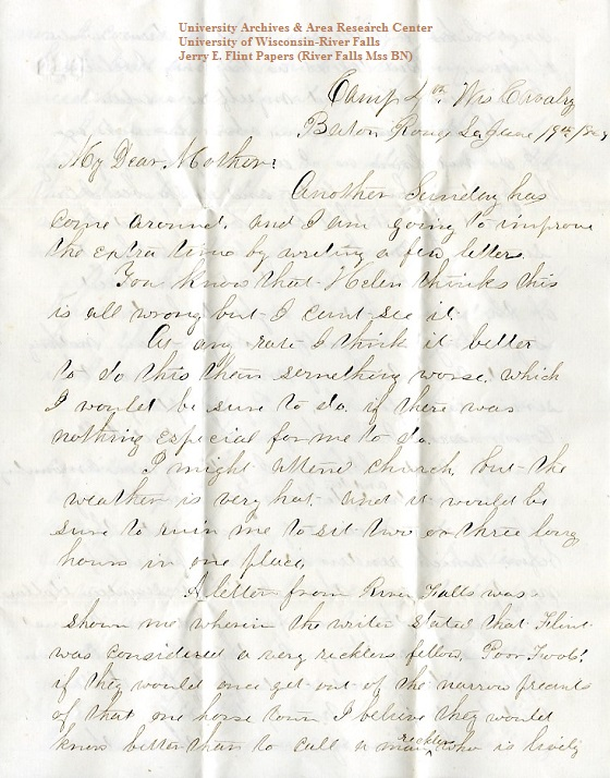 Jerry Flint letter of June 19, 1864, from the Jerry E. Flint Papers (River Falls Mss BN) at the University of Wisconsin-River Falls University Archives & Area Research Center