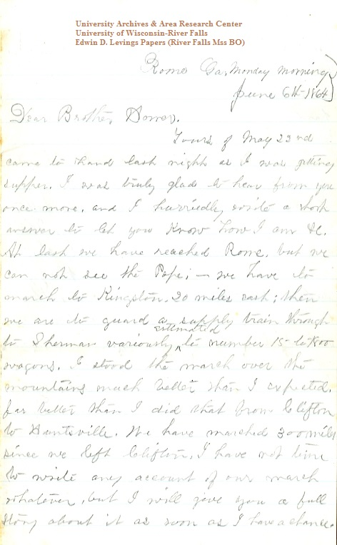 Edwin Levings letter of June 6, 1864, from the Edwin D. Levings Papers (River Falls Mss BO) in the University Archives & Area Research Center at the University of Wisconsin-River Falls