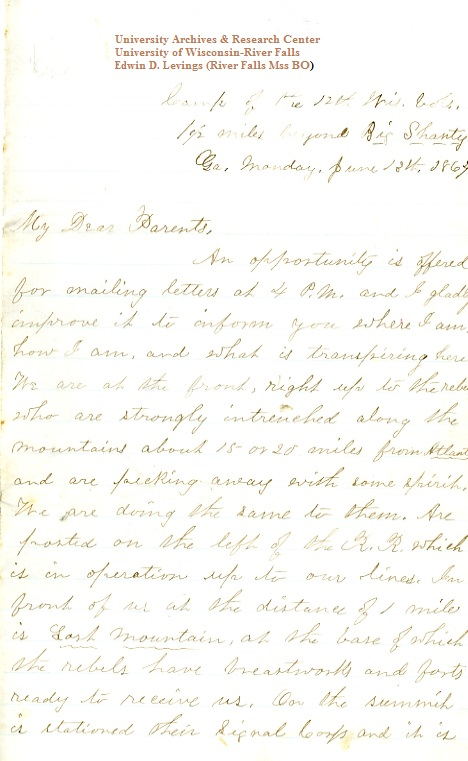 Edwin Levings letter of June 13, 1864, from the Edwin D. Levings Papers (River Falls Mss BO) in the University Archives & Area Research Center at the University of Wisconsin-River Falls
