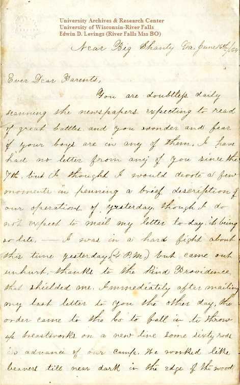 Edwin Levings letter of June 16, 1864, from the Edwin D. Levings Papers (River Falls Mss BO) in the University Archives & Area Research Center at the University of Wisconsin-River Falls