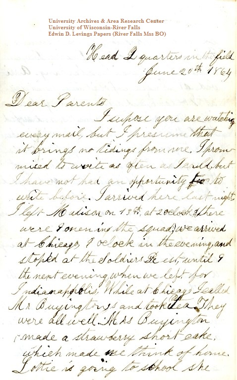 Homer Levings letter of June 20, 1864, from the Edwin D. Levings Papers (River Falls Mss BO) at the University of Wisconsin-River Falls University Archives & Area Research Center