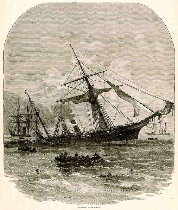 """Destruction of the Alabama, from """"Harper's Pictorial History of the Civil War""""²"""