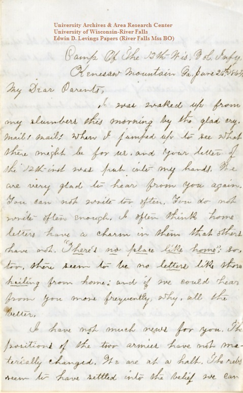 Edwin Levings letter of June 26, 1864, from the Edwin D. Levings Papers (River Falls Mss BO) at the University of Wisconsin-River Falls University Archives & Area Research Center