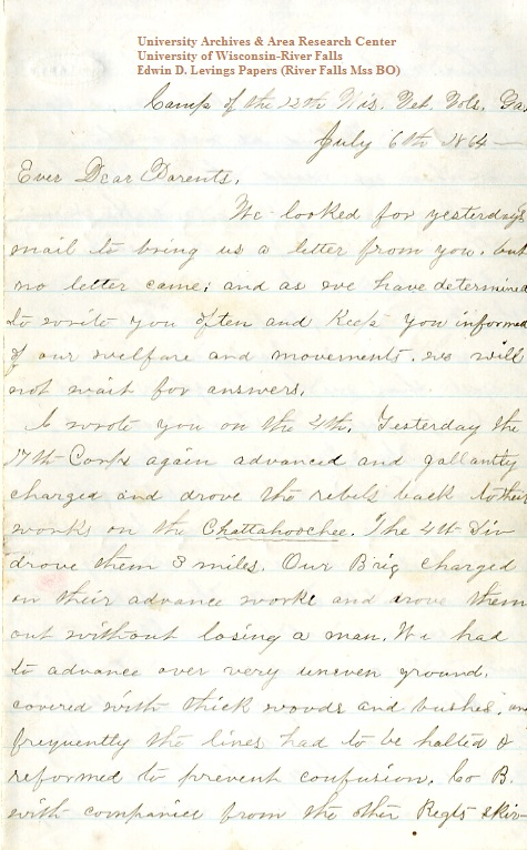 Edwin Levings letter of July 6, 1864, from the Edwin D. Levings Papers (River Falls Mss BO) at the University of Wisconsin-River Falls University Archives & Area Research Center