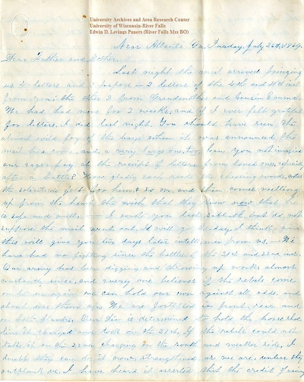 Edwin Levings letter of July 26, 1864, from the Edwin D. Levings Papers (River Falls Mss BO) in the University Archives & Area Research Center at the University of Wisconsin-River Falls
