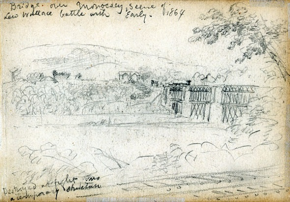 """""""Bridge over Monocacy, Scene of Lew Wallace battle with Early, 1864,"""" from Library of Congress"""