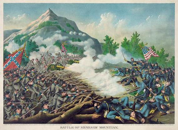 """""""Battle of Kenesaw Mountian"""" [sic], by Kurz & Allison"""