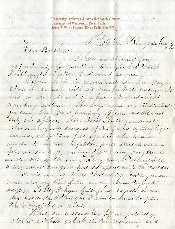 Jerry Flint letter of August 14, 1864, from the Jerry E. Flint Papers (River Falls Mss BN) at the University of Wisconsin-River Falls University Archives & Area Research Center