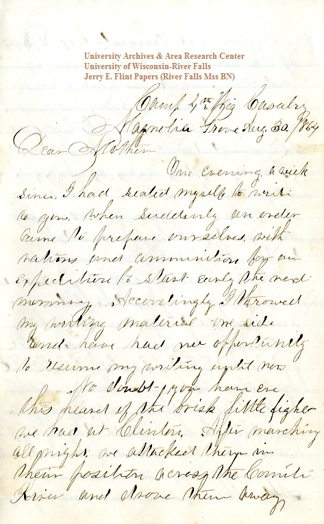 Jerry Flint letter of August 30, 1864, from the Jerry E. Flint Papers (River Falls Mss BN) at the University of Wisconsin-River Falls University Archives & Area Research Center