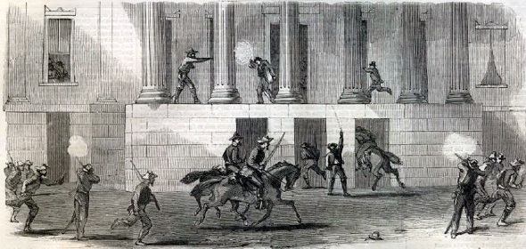 "Forrest's Raid Into Memphis—The Rebels at the Gayoso House (Sketched by George H. Ellsbury), from ""Harper's Weekly"""