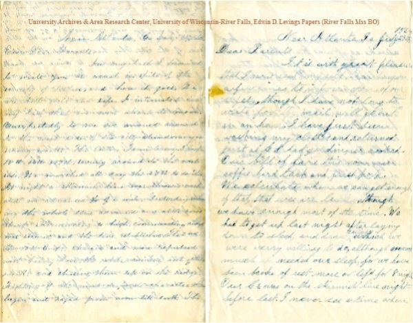 July 29, 1864, letters of Edwin D. Levings (left) and Homer Levings (right), from the Edwin D. Levings Papers (River Falls Mss BO) in the University Archives & Area Research Center at the University of Wisconsin-River Falls