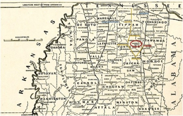 """Map of Mississippi (cropped), from """"Harper's Pictorial History of the Civil War"""""""