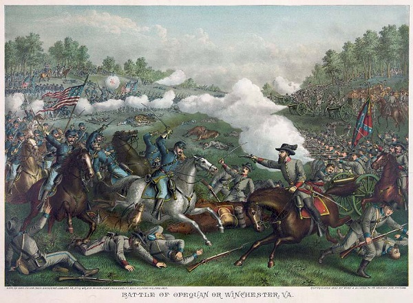 """Battle of Opequan [sic] or Winchester, Va.--Sept. 19' 1864,"" by Kurz & Allison"