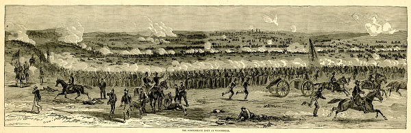 "The Confederate Rout at Winchester, from ""Harper's Pictorial History of the Civil War"""