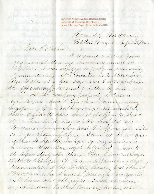 Jerry Flint letter of September 26, 1864, from the Jerry E. Flint Papers (River Falls Mss BN) at the University of Wisconsin-River Falls University Archives & Area Research Center