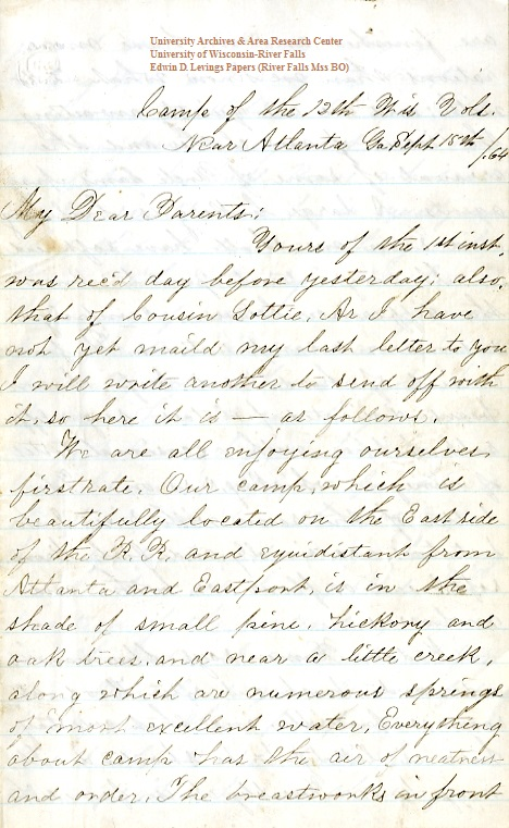 Edwin Levings letter of September 15, 1864, from the Edwin D. Levings Papers (River Falls Mss BO) in the University Archives & Area Research Center at the University of Wisconsin-River Falls
