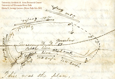 Map from page 4 of Edwin Levings' September 15, 1864, letter, from the Edwin D. Levings Papers (River Falls Mss BO) in the University Archives & Area Research Center at the University of Wisconsin-River Falls