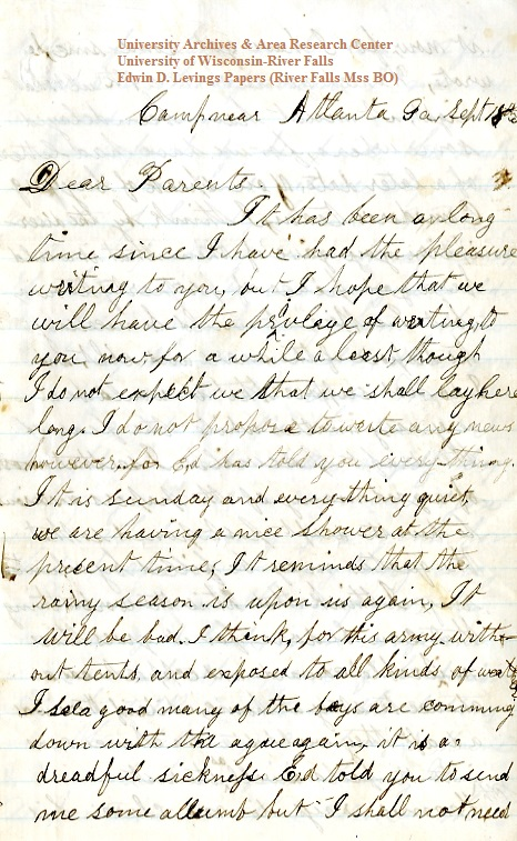 Homer Levings letter of September 18, 1864, from the Edwin D. Levings Papers (River Falls Mss BO) in the University Archives & Area Research Center at the University of Wisconsin-River Falls