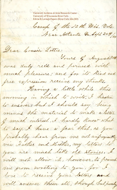 Edwin Levings letter of September 24, 1864, from the Edwin D. Levings Papers (River Falls Mss BO) in the University Archives & Area Research Center at the University of Wisconsin-River Falls
