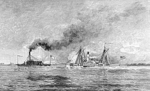 """Capture of the Confederate Gun-Boat """"Selma"""" by the """"Metacomet,"""" from a War-Time Sketch"""""""