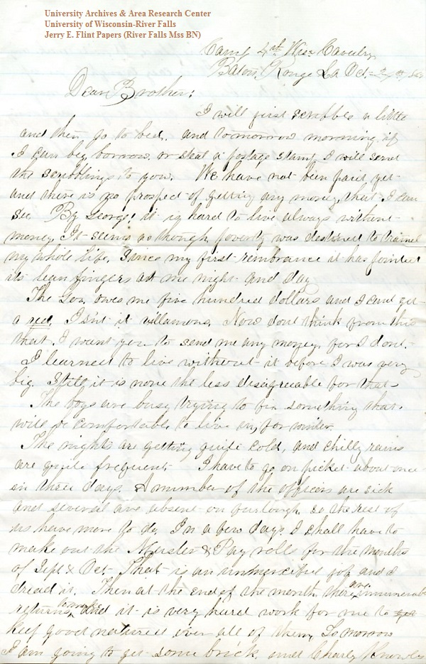 Jerry Flint letter of October 24, 1864, from the Jerry E. Flint Papers (River Falls Mss BN) at the University of Wisconsin-River Falls University Archives & Area Research Center