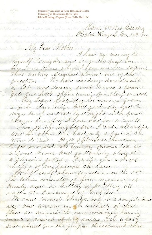 Jerry Flint letter of October 11, 1864, from the Jerry E. Flint Papers (River Falls Mss BN) at the University of Wisconsin-River Falls University Archives & Area Research Center